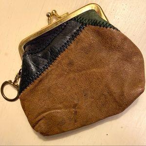 Vintage Leather Patchwork Kiss Lock Change Purse